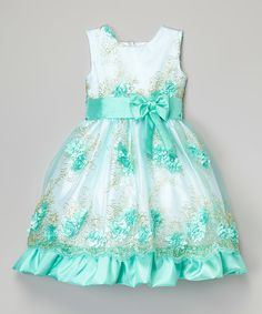 Look at this Turquoise & White Floral Dress - Toddler on #zulily today!