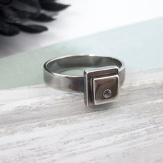 Handmade Sterling Silver Ring Geometric Jewelry Statement Ring Minimalist Jewelry Square Ring