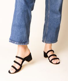 33de1bd493c Low-heeled suede slide sandal from Charlotte Stone. Strappy mid-heeled slip  on sandal. Chic and comfy slide.