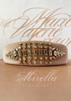 Mrs. Marie Valerie Crown | velvet headband | Swarovski Crystals sewn on by hand Natural Stones, Headbands, Swarovski Crystals, Velvet, Crown, Jewellery, Pearls, Elegant, Sewing