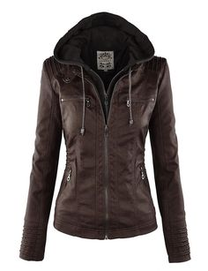 MBJ Womens Faux Leather Motorcycle Jacket with Hoodie - best woman's fashion products designed to provide Leather Jacket With Hood, Faux Leather Jackets, Pu Leather, Vegan Leather, Leather Hoodie, Leather Collar, Black Leather, Leather Coats, Hooded Leather Jacket