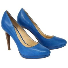 Pre-owned Cole Haan Cerulean Blue Leather Pumps ($69) ❤ liked on Polyvore featuring shoes, pumps, blue, wood heel platform shoes, blue leather shoes, platform pumps, wooden-heel shoes and blue pumps