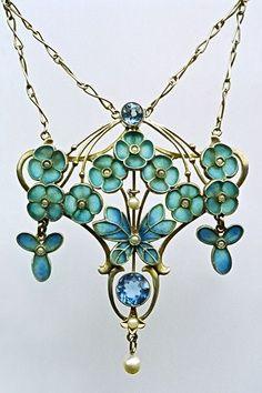 art nouveau- aquamarine & turquoise