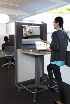 media:scape kiosk is tailored to meet the needs of small group collaboration, rather than the needs of large group video collaboration. Office Space Design, Library Design, Corporate Interiors, Office Interiors, Commercial Office Design, Instructional Design, Contract Furniture, Cool Office, Co Working