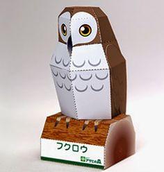 CASITA DE PAPEL: Dollhouse paper: Five Owls, Cinco Buhos
