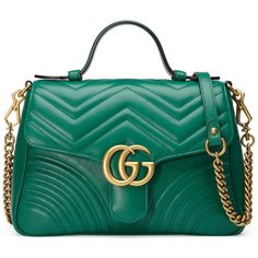 Gucci Gg Marmont Small Top Handle Bag (9.405 RON) ❤ liked on Polyvore featuring bags, handbags, purses, emerald green, top handles & boston bags, women, chain strap purse, leather flap handbags, top handle leather handbags and leather man bags