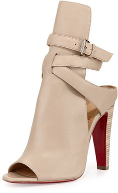 Christian Louboutin Hippik Napa Leather Red Sole Bootie, Colombe/Grezzo on shopstyle.com