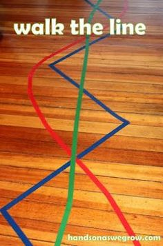 http://handsonaswegrow.com/fun-kid-activity-lines-of-colored-tape  Promotes body eye coordination by having the child walk on the specified tape lines using different methods. for instance, green can be used to specify the child walk backwards.