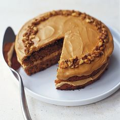 Coffee and walnut cake .This traditional British cake can be made in advance and frozen