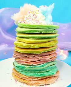 Unicorn Inspired Pancakes. Rainbow pancake recipe for kids who love unicorns