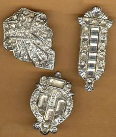vintage rhinestone dress clips, three assorted art deco antique, repurpose silvertone sparkle bridal glitz holiday inspiration by beadtopiavintage on Etsy