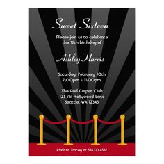 Hollywood Red Carpet Birthday Party Invites