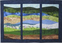 Art Quilt Landscape Abstract Tritych by ArtQuiltsBySharon on Etsy