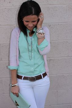 Mint Green & White. Button up with cardigan. except i would wear my mint cardi and pink button up.