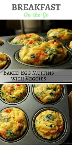 A make ahead, simple breakfast on the go! Pick any veggies you like, mix with eggs (cheese and meat optional!), and bake. These store in the fridge for a few days making them the perfect grab and go breakfast - Egg Muffins. Healthy breakfast to go. www.maryellenscookingcreations.com