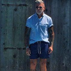 Nick Wooster wearing White and Blue Vertical Striped Short Sleeve Shirt, Navy Polka Dot Shorts Polka Dot Shorts, Striped Shorts, Most Stylish Men, Stylish Man, Nick Wooster, Gents Fashion, Men Street, Vertical Stripes, Men Looks
