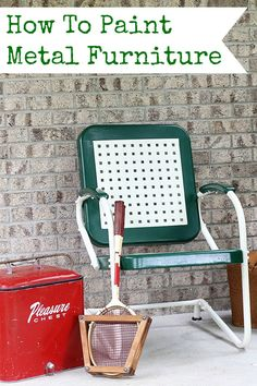 DIY tutorial on how to paint a vintage metal motel chair