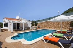 Villa Celeste is a beautiful 3 bedroom villa with private pool, wifi, air con, PoolFence. Book now and pay only deposit! Villa With Private Pool, Balearic Islands, Menorca, Spain, Places To Visit, Outdoor Decor, Wifi, Holidays, Beautiful