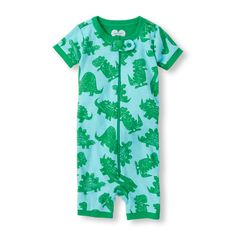Baby Boys Baby Boys Short Sleeve Dino Print Cropped Stretchie - Blue - The Children's Place