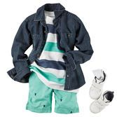 Layer button-front denim over bright stripes for a breezy style. With schiffli shorts and white sneakers, he'll look crisp for his walk on the pier.