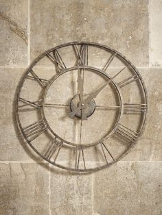 NEW Distressed Indoor Outdoor Clocks Suitable for both indoor and outdoor use, our skeleton clock has a rustic aged metal iron frame with a distressed gold effect finish. Now available in two sizes, each weighty clock has roman numerals set around elegan Outdoor Clock, Indoor Outdoor, Outdoor Living, Garden Clocks, Skeleton Clock, Home Clock, Kitchen Clocks, Metal Stool, Metal Clock