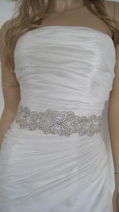 "Rhinestone bridal sash with crystals belt  black white ,gold ivory beaded  wedding sash ""PIPPA"". $59.00, via Etsy."
