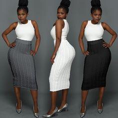 Trendy Women Woolen Pencil Skirt