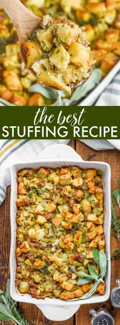 Es hat alles, was du liebst . This is literally the BEST Homemade Stuffing Recipe. It has everything you lov. This is literally the BEST Homemade Stuffing Recipe. It has everything you lov. Best Stuffing, Stuffing Recipes For Thanksgiving, Holiday Recipes, Dinner Recipes, Homemade Stuffing For Turkey, Apple Sausage Stuffing, Thanksgiving Foods Sides, Homemade Stuffing With Sausage, Appetizers