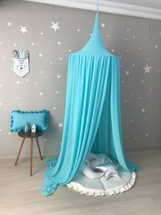 Turquoise Canopy, Chiffion baldachin, Kids Ceiling Hanging Tent, Canopy for Nursery Kids, Reading No Girls Bedroom Canopy, Big Boy Bedrooms, Mermaid Bedroom, Bedroom Themes, Kids Bedroom, Reading Nook Tent, Girls Reading Nook, Turquoise Bedroom Decor, Bedroom Turquoise