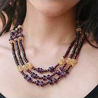 Garnet and amethyst strand necklace, 'Elegant Passion'