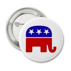 GOP Republican elephant button - ABR1018