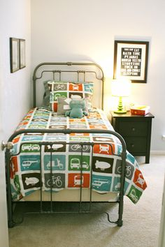 Doubt I'll stick with the big boy bedding completely when Wyatt gets older, but love the look on this old style iron bed. Big Boy Bedrooms, Kids Bedroom, Kid Rooms, Bedroom Small, Bedroom Ideas, Cute Bedding, Boy Bedding, Comforter, Wrought Iron Beds