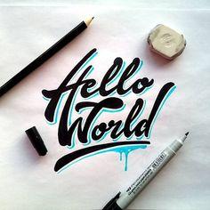 HELLO WORLD - Lettering design idea for handlettering fans...   by @ilyaaken #handlettering #handletteringideas #letteringdesign