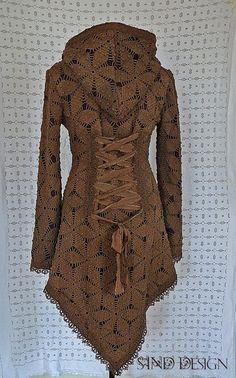 WINTER LACE JACKET cardigan fleece crochet gypsy by SINDdesign