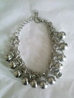 multiple silver ball beads dangle charms bracelet