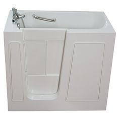 The Ella Walk In Baths Small ft. Walk-In Whirlpool and Air Bath Tub with Low Threshold in White is made of fiberglass material for long lasting usage. It is slip resistant and includes heater for added safety. Walk In Tubs, Walk In Bathtub, Bathtub Drain, Soaking Bathtubs, Whirlpool Bathtub, Door Seals, Relaxing Bath, Plumbing Fixtures