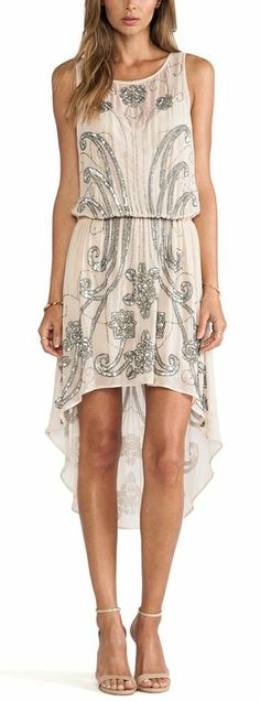 Haute Hippie Embellished Chiffon Dress
