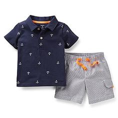 Black Friday Carter's Boys' 2 Piece Shorts Set (Toddler) - Blue - from Carter's Toddler Outfits, Baby Boy Outfits, Kids Outfits, Carters Baby Boys, Toddler Boys, Little Boy Fashion, Kids Fashion, Printed Polo Shirts, Camisa Polo