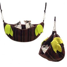 JUNGLE HAMMOCK POUCH Sugar glider pouch, in the shape of a big hammock and tropical jungle decorations. http://www.todopetauros.com/gb/home/119-nido-hamaca-selva.html