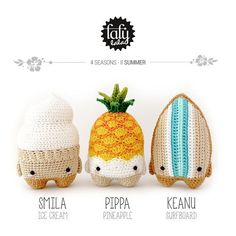 4 seasons: SUMMER (ice cream, pineapple, surfboard) • lalylala crochet pattern…