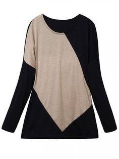 Fashion Women Geometric Pattern Batwing Sleeve Loose T-shirt