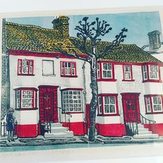 Morning. @mich_tom #hftakeover this week. I live in a lovely market town in #Essex called #SaffronWalden the town has had strong links with artists who settled in Great Bardfield in the 30's which is nearby. Sheila Robinson (google her) was one of them an illustration graduate from the Royal College of Art. Here's a 1970 artist proof of Saffron Walden High Street. The house on the left is mine and so is the print. :) #illustration #print #sheilaRobinson #screenprint #art #bardfield…