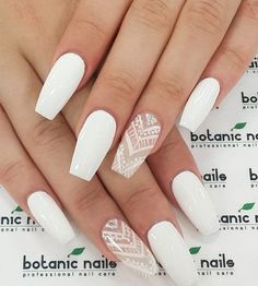 There are three kinds of fake nails which all come from the family of plastics. Acrylic nails are a liquid and powder mix. They are mixed in front of you and then they are brushed onto your nails and shaped. These nails are air dried. Cute Acrylic Nails, Acrylic Nail Designs, White Nail Designs, White Nails With Design, Acrylic Nails For Summer Coffin, Gorgeous Nails, Love Nails, Perfect Nails, Matt Nails