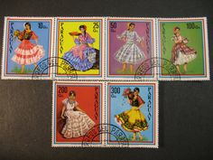 LOVELY SENORITAS Spanish South American Folk Art Costume Dancers STAMP Collection Vintage Used Postage Stamps from Paraguay 1981 C106