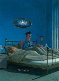 Семейная пара перед сном.  — Хаим! Одно из пяти: или ты уже закроешь форточку, или четыре раза получишь по морде!