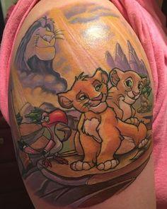 6aaee997a46b2 vibrant little Simba and Nala tattoo with a hornbill Zazu on the half .