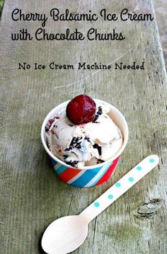 Cherry Balsamic Ice Cream with Dark Chocolate Chunks on Having Fun Saving and Cooking