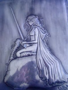 Embossed Warrior Girl done in Pewter
