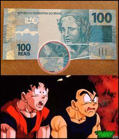 """De acuerdo con varios medios en Brasil, el gobierno esta retirando una cuadrilla de 5,000 billetes de 100 reales después de que un funcionario escribió la leyenda: """"Alabado sea Goku"""" (Goku seja louvado) en el dorso del billete. El Gobierno de la presidenta Dilma Rousseff ha anunciado que ha despedido al responsable de la broma.  ¿Te gustaría tener uno de estos billetes?"""