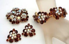 Vintage Juliana Book Set Bracelet Earrings Brooch Rhinestone D E Brown Topaz | eBay